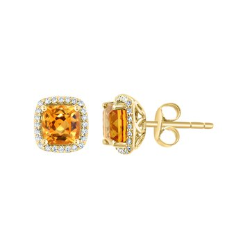 - 14k Yellow Gold 0.19Ctw. Diamond Halo and 1.71Ctw. Citrine Gemstones Stud Earrings