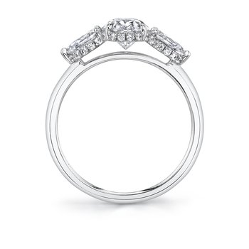 - Three-Stone Oval Center and Pear-Shaped Sides Diamond Hidden Halo Accented Semi-Mount Engagement Ring