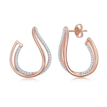 Sterling Silver Two Tone 14k Rose Gold Plated Micro Pave CZ Double J-Design Earings