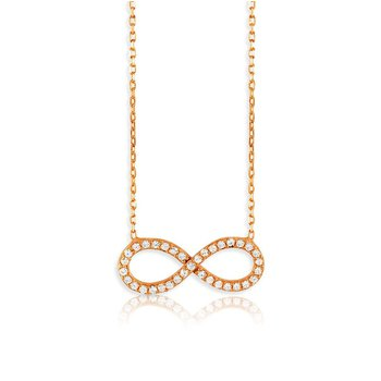 - Sterling Silver 14k Rose Gold Plated Infinity Set with CZ Stones Chain Necklace - 16""