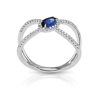 - 1/6ctw. Diamond & 3/8ct. Blue Sapphire Oval Gemstone 14k Gold Negative Space Ring