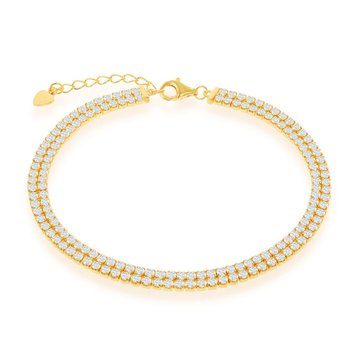- Sterling Silver 14k Yellow Gold Plated Double Row CZ Tennis Bracelet