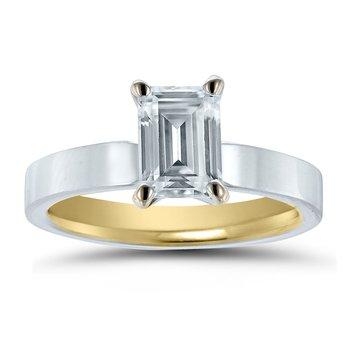 - Semi-Mount Emerald-Cut Solitaire INSIDE OUT Unique & Trending Engagement Ring