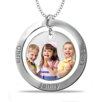 - Round Two Disc Photo 33x36mm Customized Photo Picture Pendant