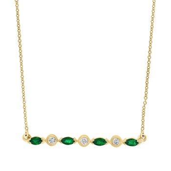 - 14k Yellow Gold Diamond and Emerald Gemstone Necklace