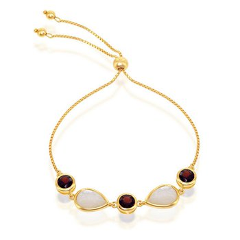 - Simona Sterling Silver 14k Yellow Gold Plated Garnet and Mother-of-Pearl Adjustable Bolo Bracelet