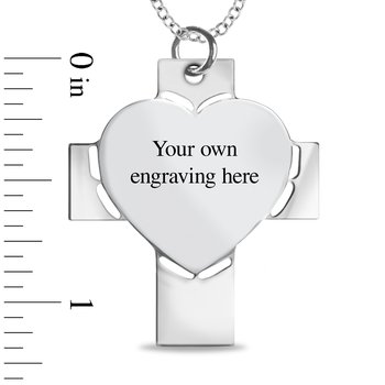 - Heart on Cross Customized Photo Picture Pendant