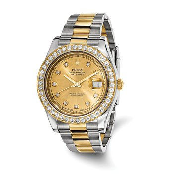 : Pre-Owned Independently Certified Rolex Gents Datejust II Two-Tone Steel/18ky with Diamond Dial, Diamond Bezel, and Oyster Band