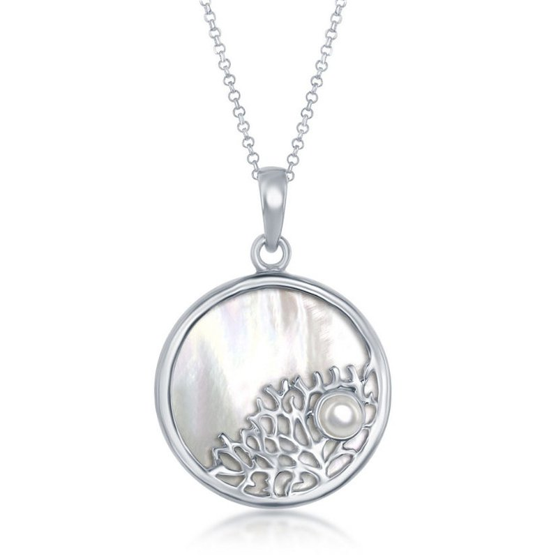 Fashion Jewelry Collection  - Sterling Silver Mother of Pearl Sealife with Small Pearl Round Pendant with Chain