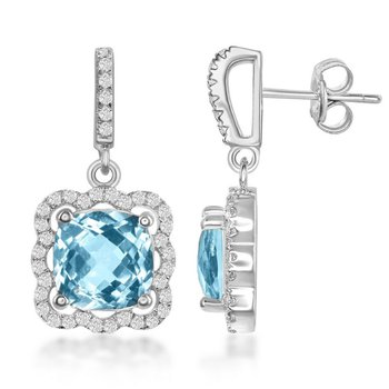 - Bellissima Sterling Silver Blue Topaz and White Topaz Scalloped Square Dangle Drop Earring Pair