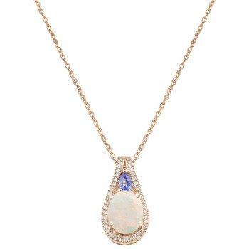 - 14k Rose Gold 0.17Ctw. Diamond and 9x7mm Australian Opal & Tanzanite Gemstones Fancy Chain Pendant