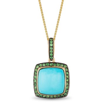 - 14k Yellow Gold Turquoise Center Accented with Halo Tsavorite Gemstones Chain Pendant