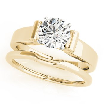 - Solitaire Round Diamond Engagement Ring and Wedding Band Set