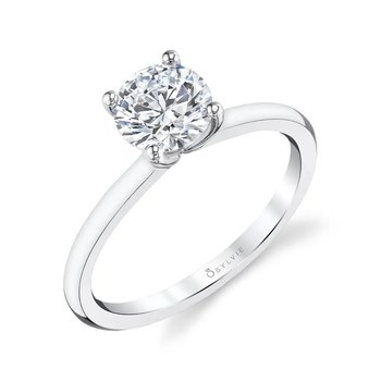 - Classic Stylish Round Solitaire Accented Diamond Semi-Mount Engagement Ring
