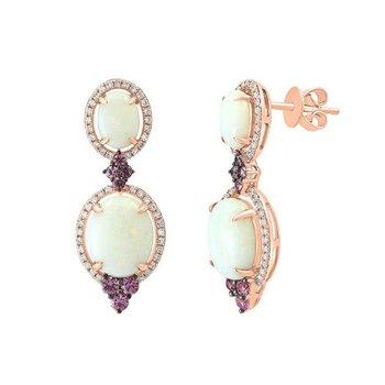 - 14k Rose Gold Halo Diamond and Australian Opal and Pink Sapphire Gemstones Drop Earrings