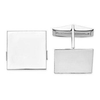 14k White Solid Gold Polished 17mm Square Plain Engravable Personalized Men's Cuff Links