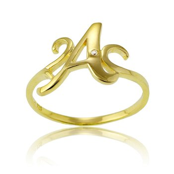 Sterling Silver 14k Gold Plated Round CZ Letter Initial Ring