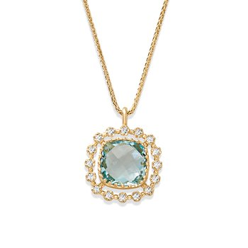 - 1/6ct. Diamond Halo and Blue Topaz 14k Gold Pendant Chain Necklace