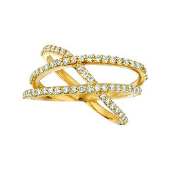14K Gold 0.65ctw. Diamond Cocktail Anniversary Criss-Cross Bypass Open Ring