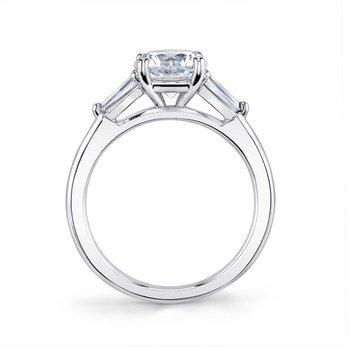 - Three-Stone Baguette Sides Diamond Semi-Mount Engagement Ring