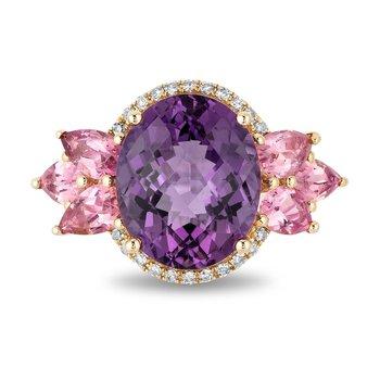 - 14k Yellow Gold Diamond Halo Amethyst Center with Pink Tourmaline Gemstones Cocktail Ring