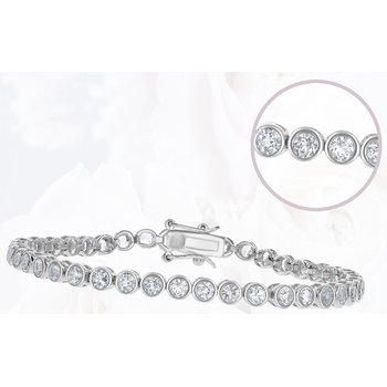 Sterling Silver 4mm Round Bezel-Set 5.25ctw. White Topaz Gemstone Tennis Bracelet