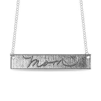 Engravable Customized 40x8mm Embossed Bar Name Pendant Necklace