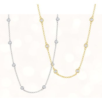 Sterling Silver CZ Station Chain Necklace