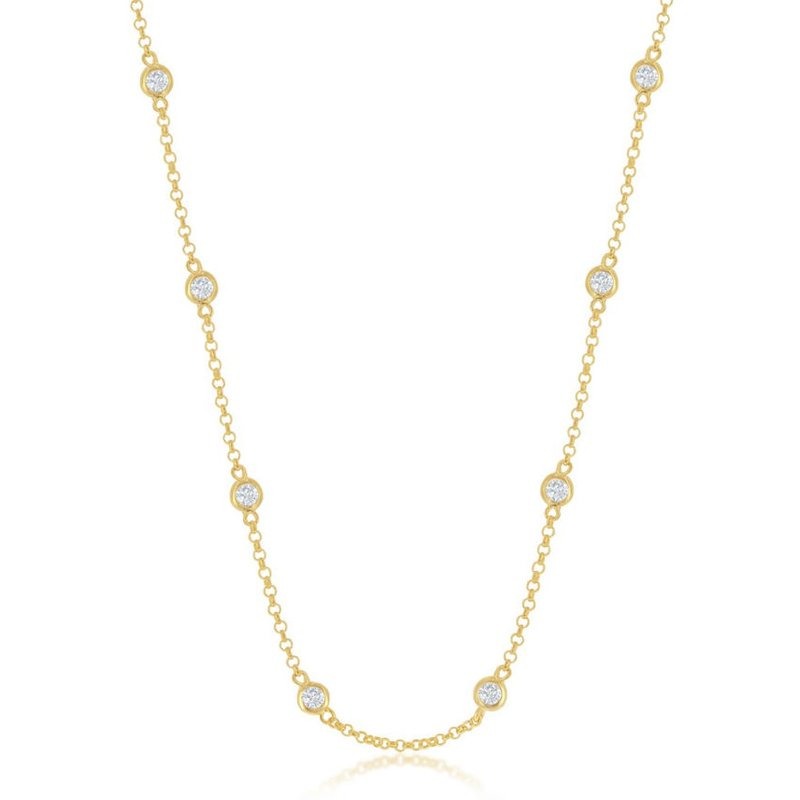 Fashion Jewelry Collection Sterling Silver CZ Station Chain Necklace