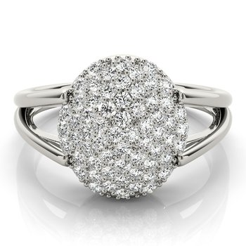 - 0.50ctw. Diamond Pave Cluster Oval Shaped Ring