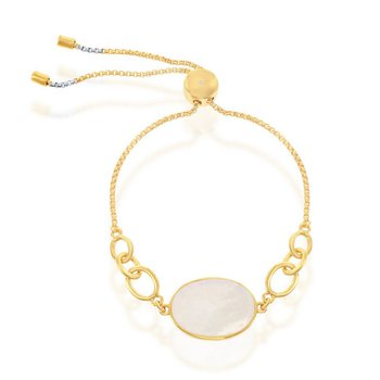 - Simona Sterling Silver 14k Yellow Gold Plated Mother-of-Pearl Adjustable Bolo Bracelet
