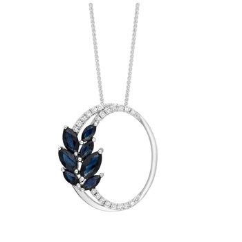 - 14k White Gold Diamond and Sapphire Gemstone Leaf Nature Inspired Fancy Split Circle Design Chain Pendant