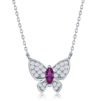 Sterling Silver CZ Butterfly Chain Necklace and Earrings and Ring Set