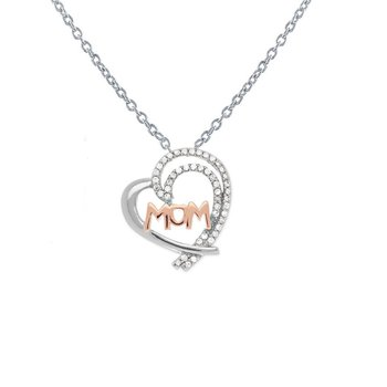 """Sterling Silver Half CZ Heart with 14k Rose Gold Plated """"MOM"""" Pendant"""