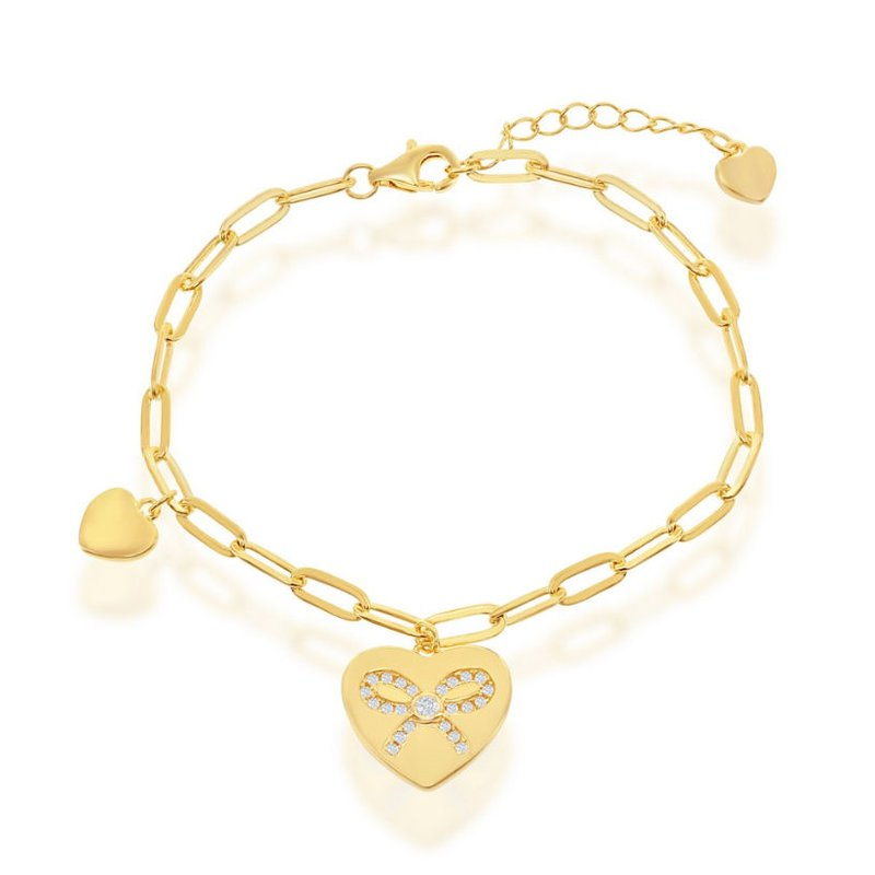 Fashion Jewelry Collection Sterling Silver Heart with Riboon CZ Stones Elongated Paper Clip Style Cable Link Chain Bracelet
