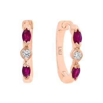 - 14k Rose Gold Diamond and Ruby Gemstone Hinged Snap Huggie Earrings