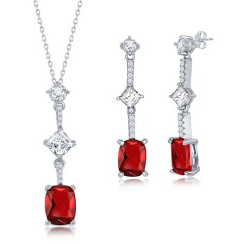 Sterling Silver Round White & Square and Cushion-Cut Color CZ Chain Necklace and Dangle/Drop Earrings Set