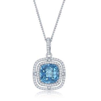 - Bellissima Sterling Silver Square Swiss Blue Topaz and White Topaz Gemstones Pendant