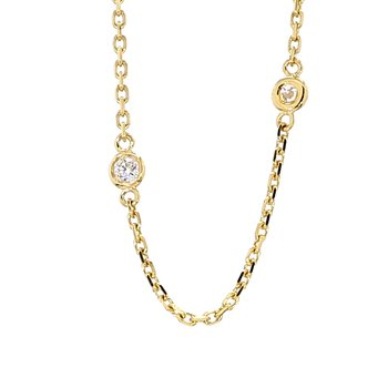.62ct Diamond Station 14 Karat Yellow Gold Necklace 18""
