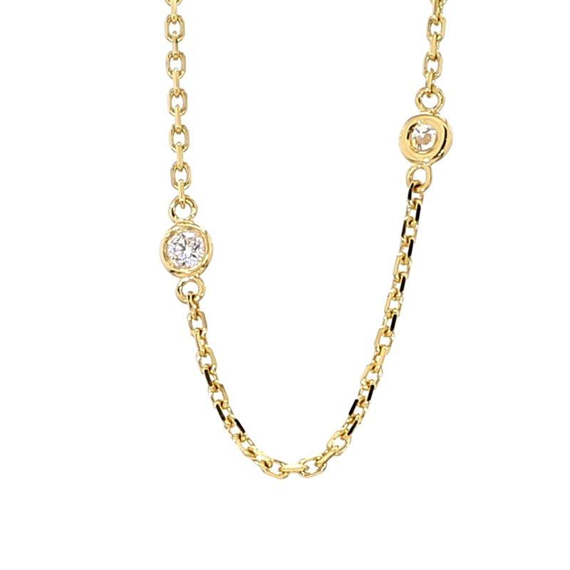 ".62ct Diamond Station 14 Karat Yellow Gold Necklace 18"""