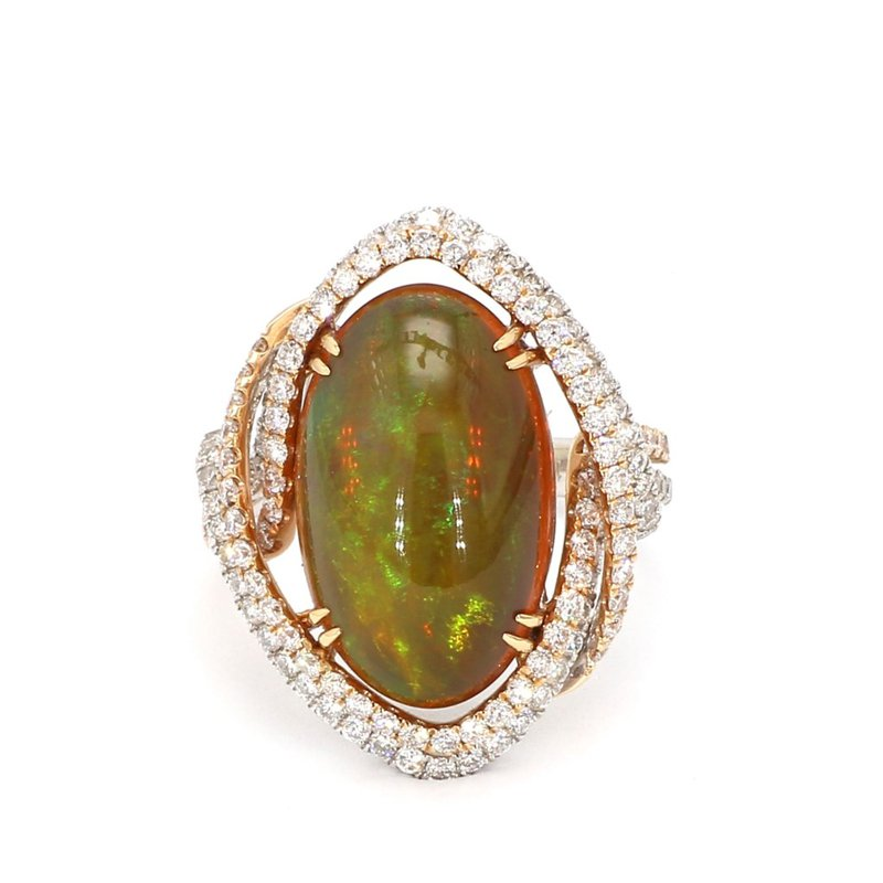Two Tone Opal And Diamond Ring