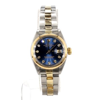 14K & Stainless Steel Diamond Blue Diamond Dial DateJust- Ladies Small Size