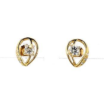 1/2ct Diamond Leaf Shape Stud Earring
