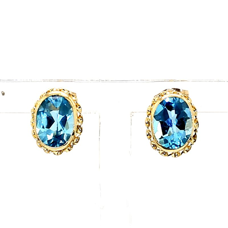 2.00CT Blue Topaz Oval Earrings