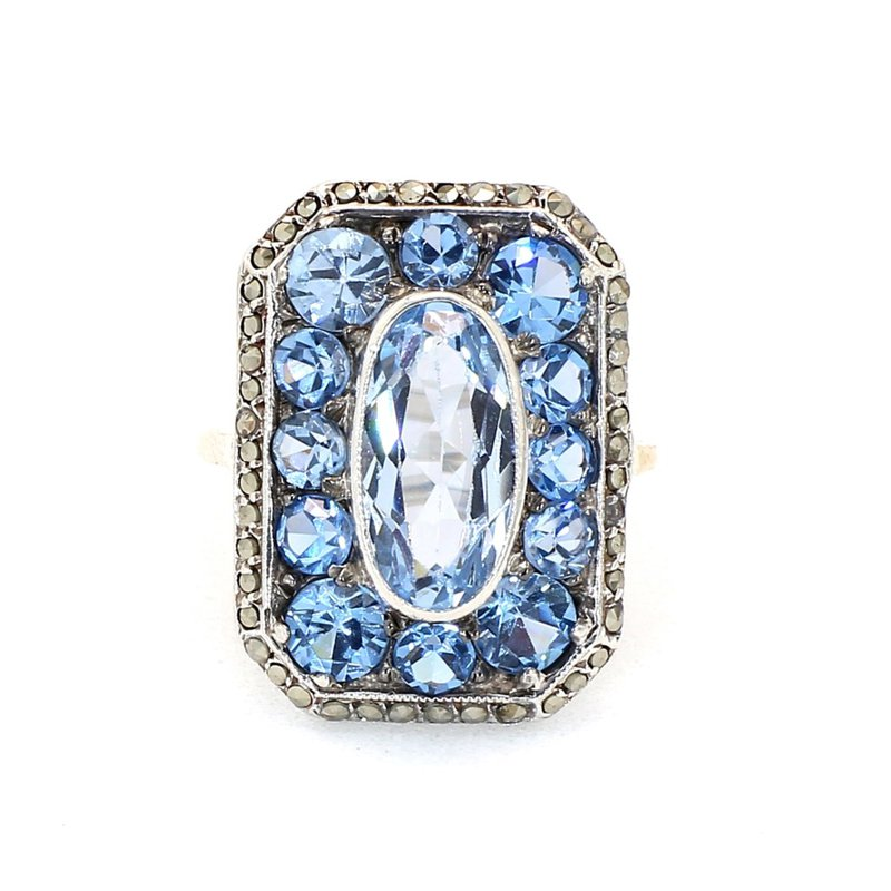 3.5 Carat Blue Topaz And Marcasite Antique Square Silver Ring