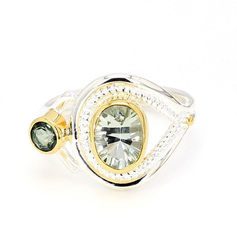 22k & Sterling Open Design Multi Gemstone Ring