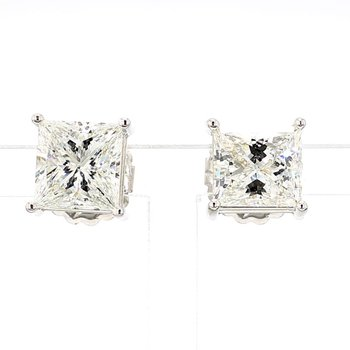 5.48ct Princess Cut Diamond Stud Earrings