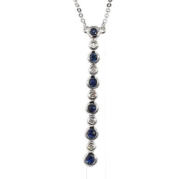 Bezel Drop Sapphire & Diamond Necklace