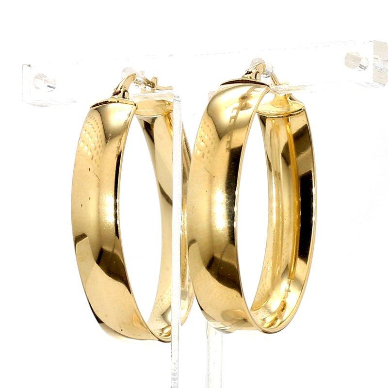 14KT Yellow Gold Flat Oval Hoop Earrings