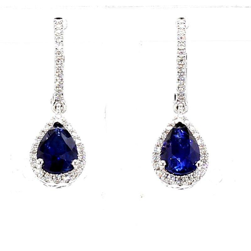 2 1/2ct Blue Sapphire & Diamond Drop Earrings
